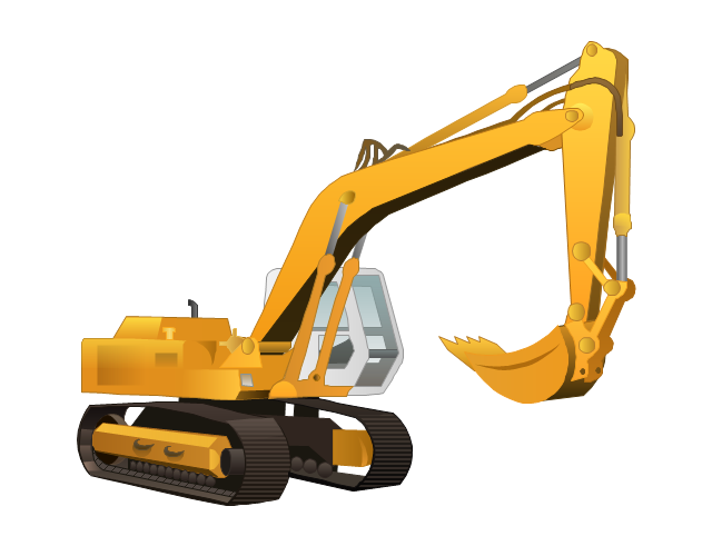 Excovator construction equipment pencil. Backhoe clipart vector