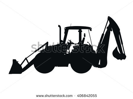 Silhouette clipground on white. Backhoe clipart vector
