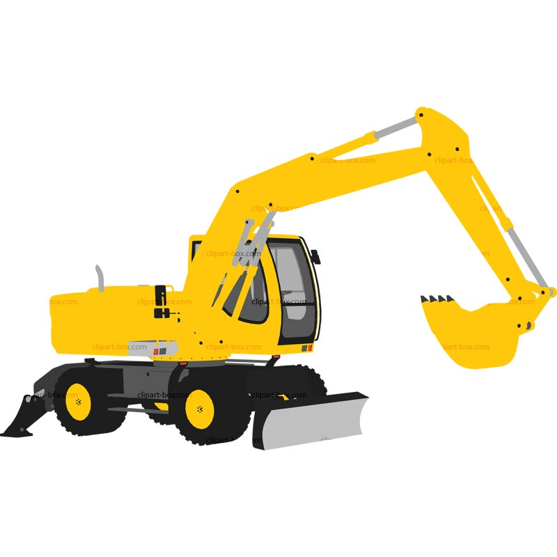 Excavator clipart side. Yellow pencil and in