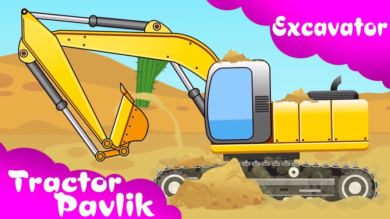 The excavator with crane. Backhoe clipart yellow digger