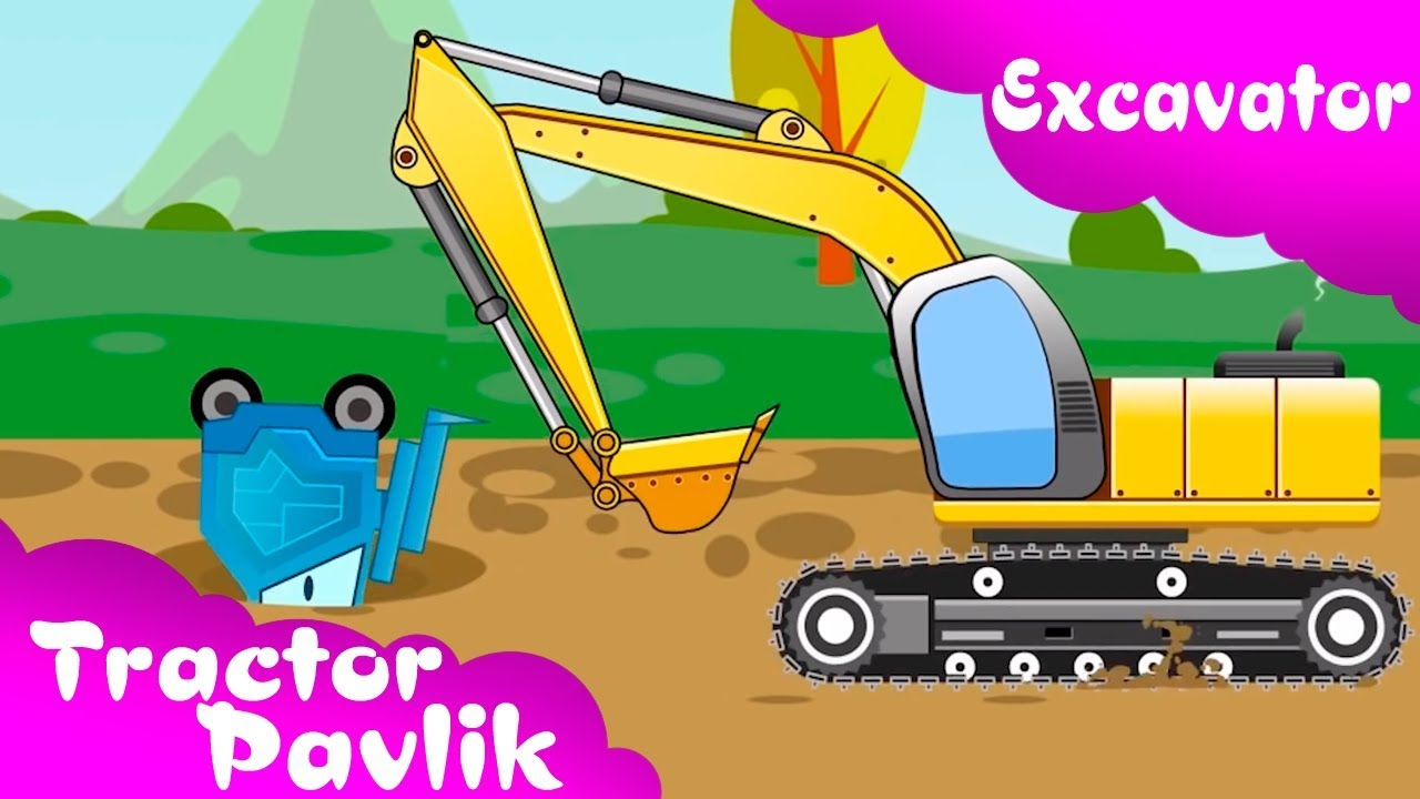 The big excavator helps. Backhoe clipart yellow digger
