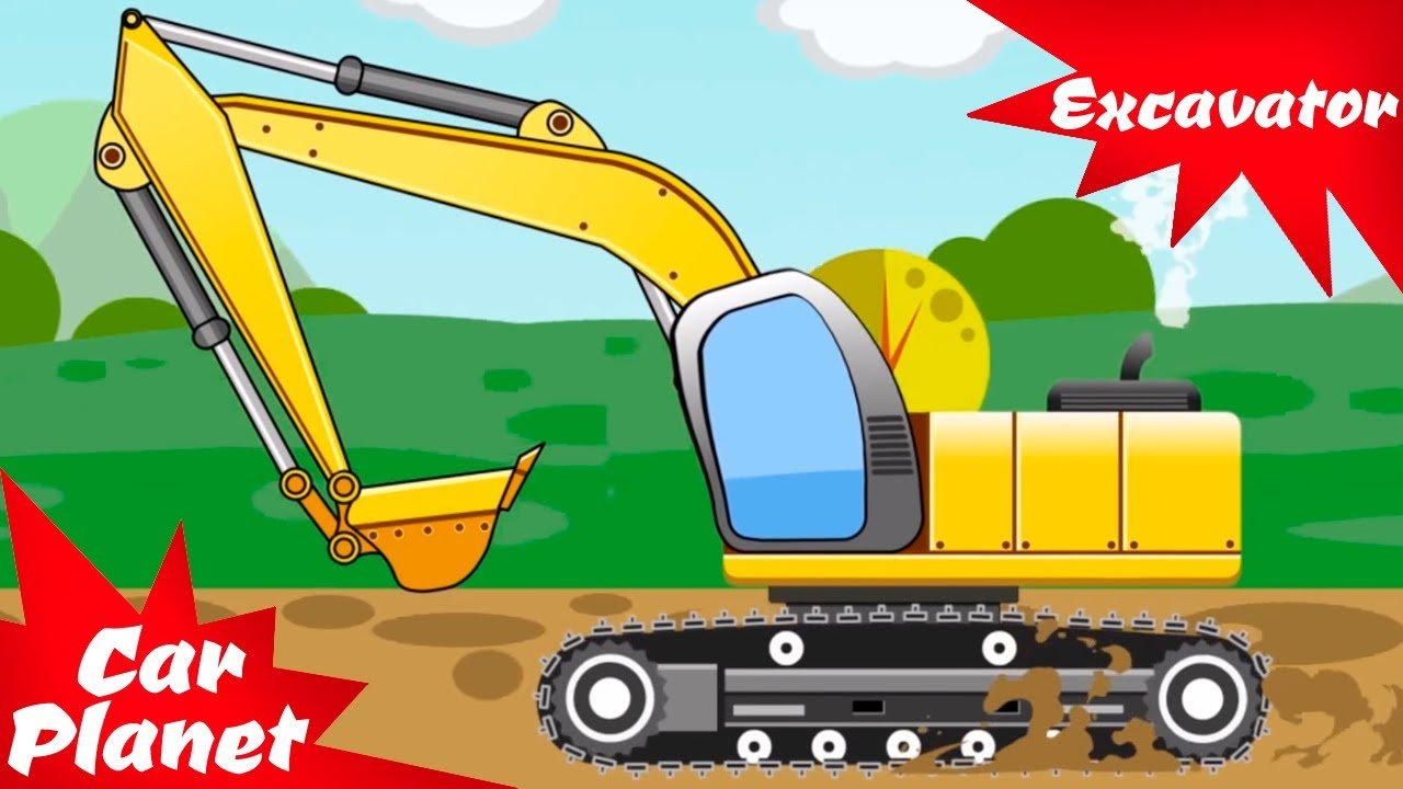 The excavator digging a. Backhoe clipart yellow digger