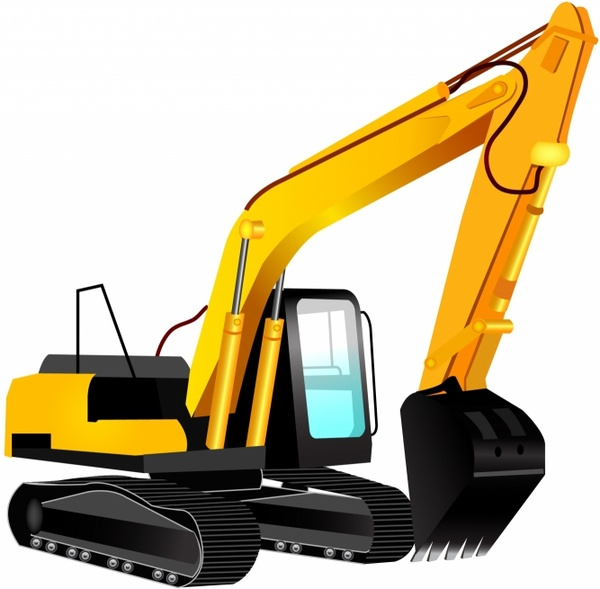 Bulldozer clipart backhoe. Excavator free vector in