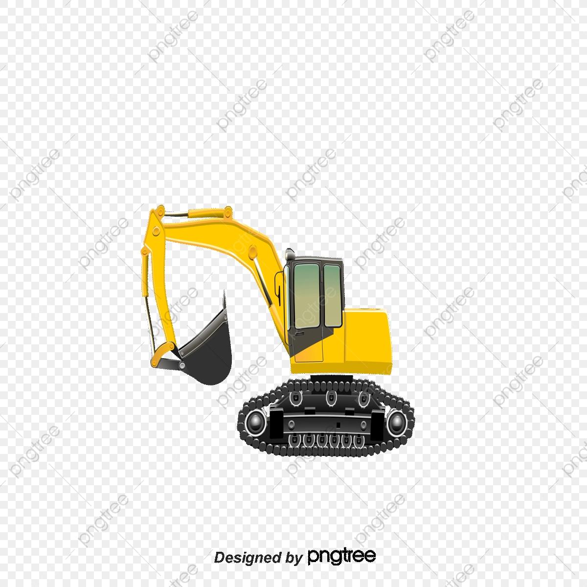 Design elements of yellow. Excavator clipart cartoon