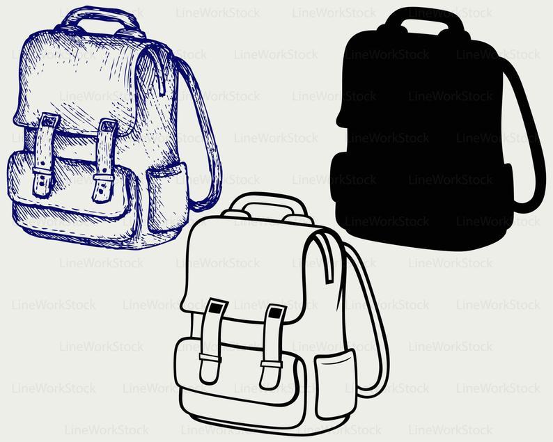 School svg silhouette cricut. Backpack clipart 3 bag