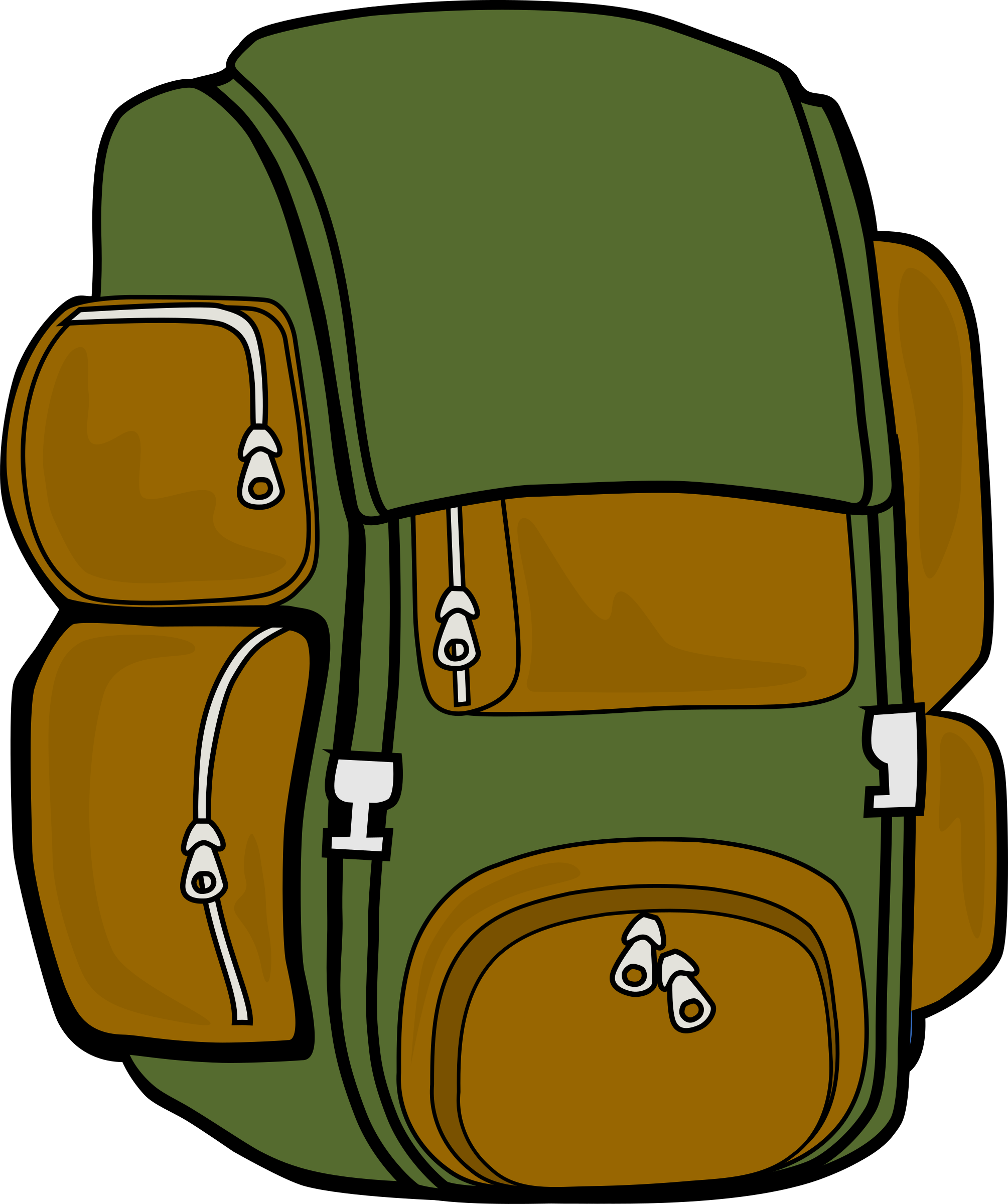 Clipart backpack blue bag. Green brown big image