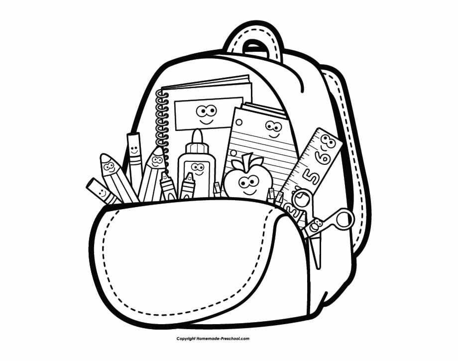School supply supplies . Backpack clipart black and white