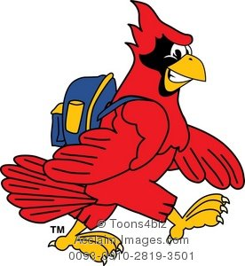 Cardinal clipart cartoon. Wearing a backpack