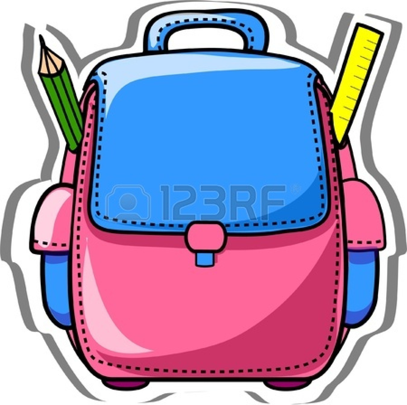 School backpack cartoon panda. Bag clipart animated