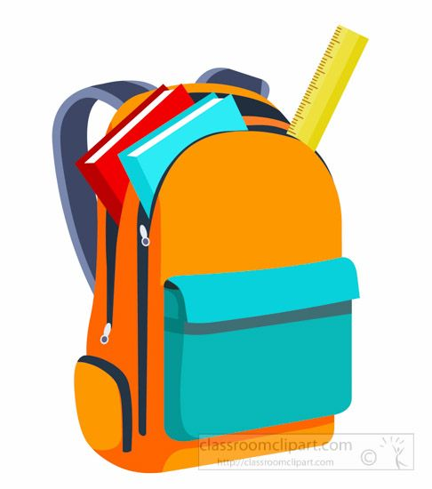Backpack clipart classroom. School books and scale