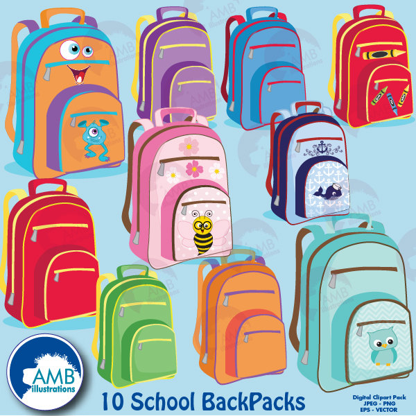 Backpack clipart classroom. Back to school amb