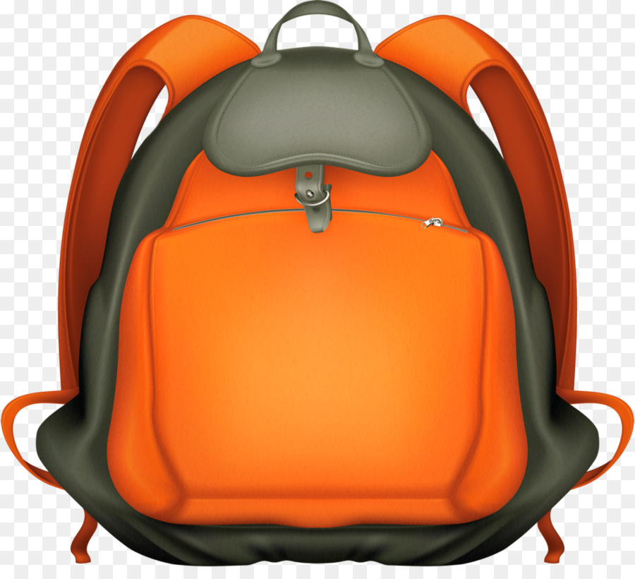 Back to school orange. Clipart backpack clear background