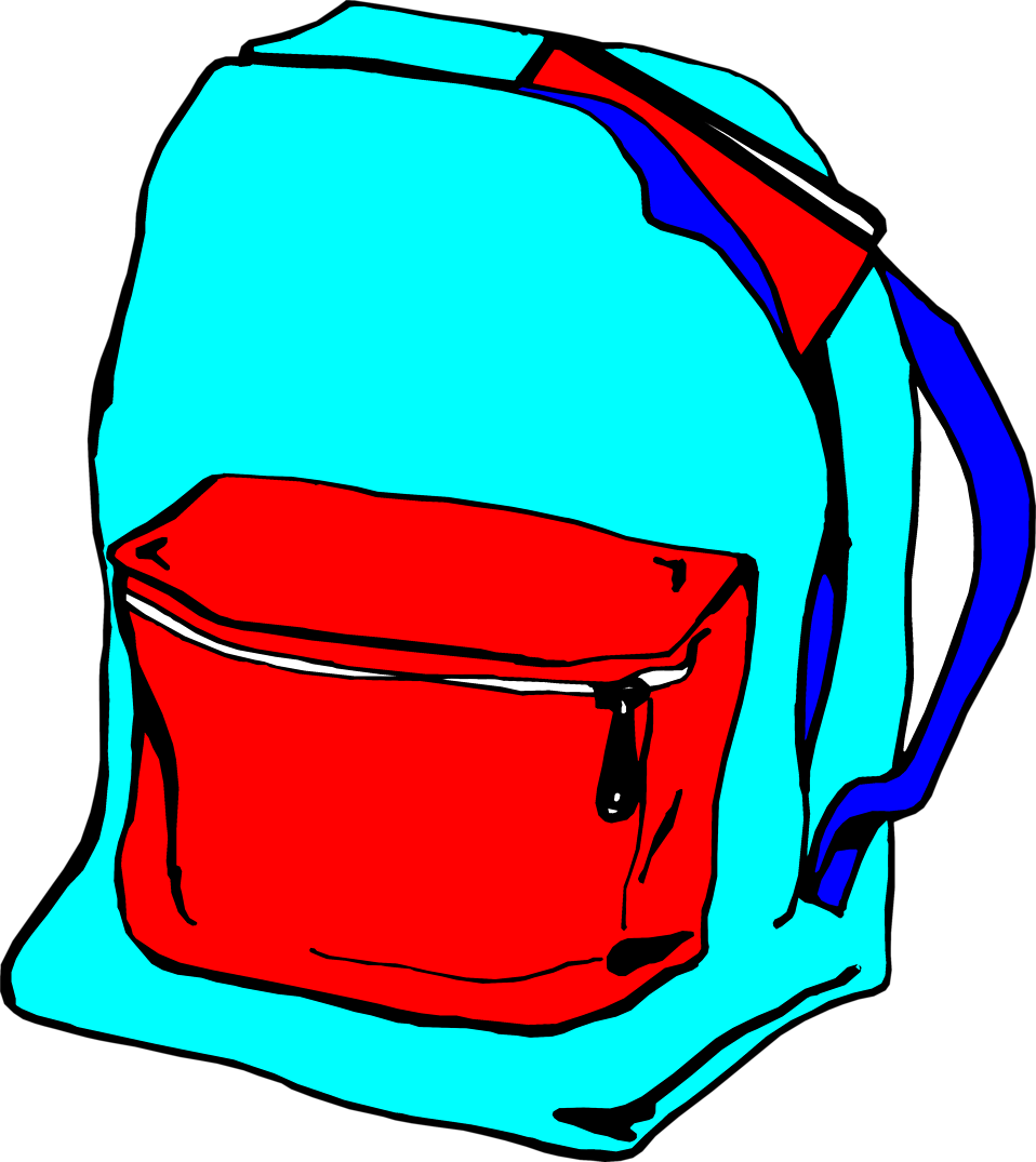 Clipart backpack blue bag. Free stock photo illustration