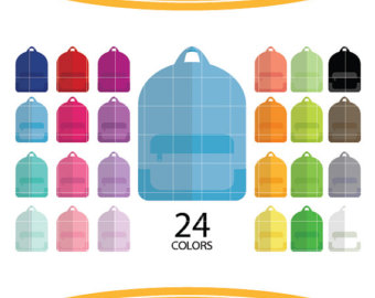 Etsy studio rainbow collage. Backpack clipart color