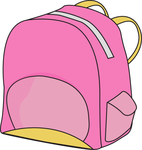 Pink clip art vector. Backpack clipart cute backpack