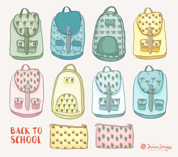 Pastel cactus commercial use. Backpack clipart cute backpack
