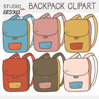 Studio elska . Backpack clipart cute backpack