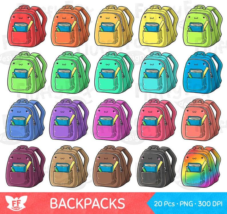 Backpack clipart cute backpack. Kawaii bag clip art
