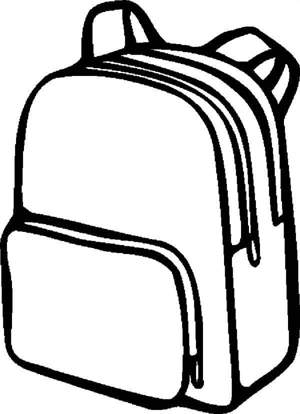 Backpack black and white. Bookbag clipart outline