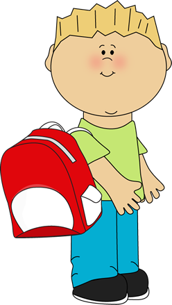 Boy wearing a clip. Backpack clipart elementary school