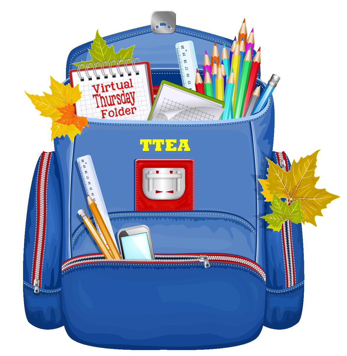 Ttea virtual tuesday tuesdays. Backpack clipart folder