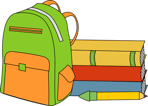 Bag clipart classroom. Books and a backpack