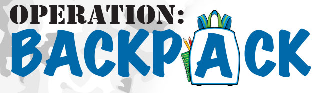 Operation for military kids. Backpack clipart giveaway