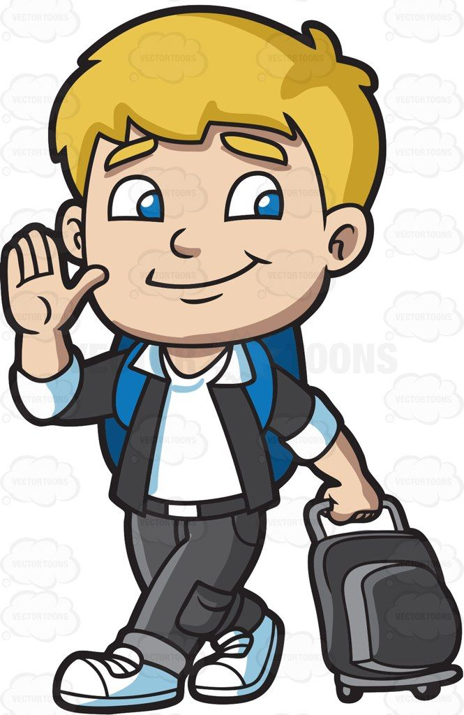 Backpack clipart jacket. A boy leaving for