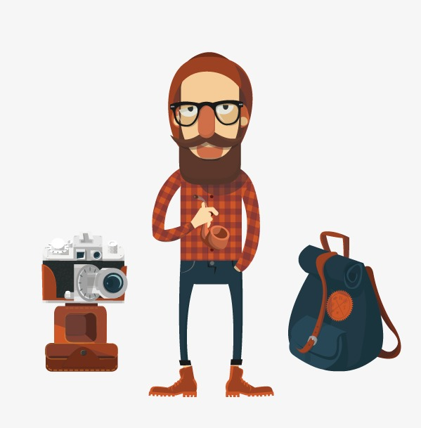 Traveler with hat camera. Backpack clipart jacket