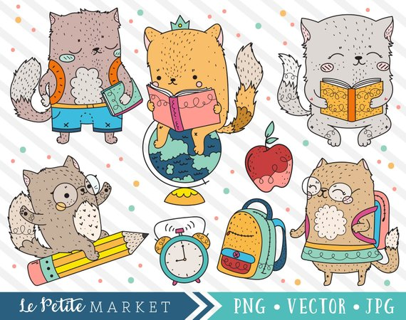 Cute school cat images. Backpack clipart kawaii