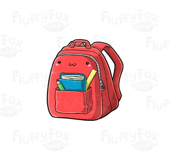Cute bag clip art. Backpack clipart kawaii