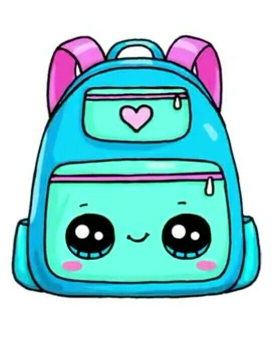 Backpack clipart kawaii. Draw so cute em