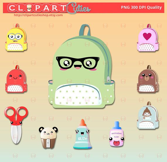 Baby bottle digital graphics. Backpack clipart kawaii