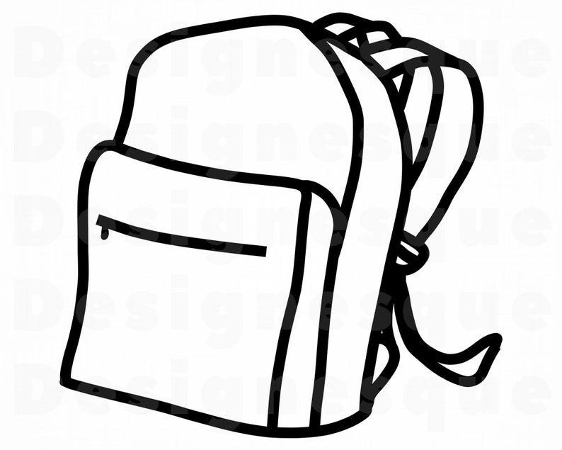 Backpack clipart knapsack. Outline svg bookbag school