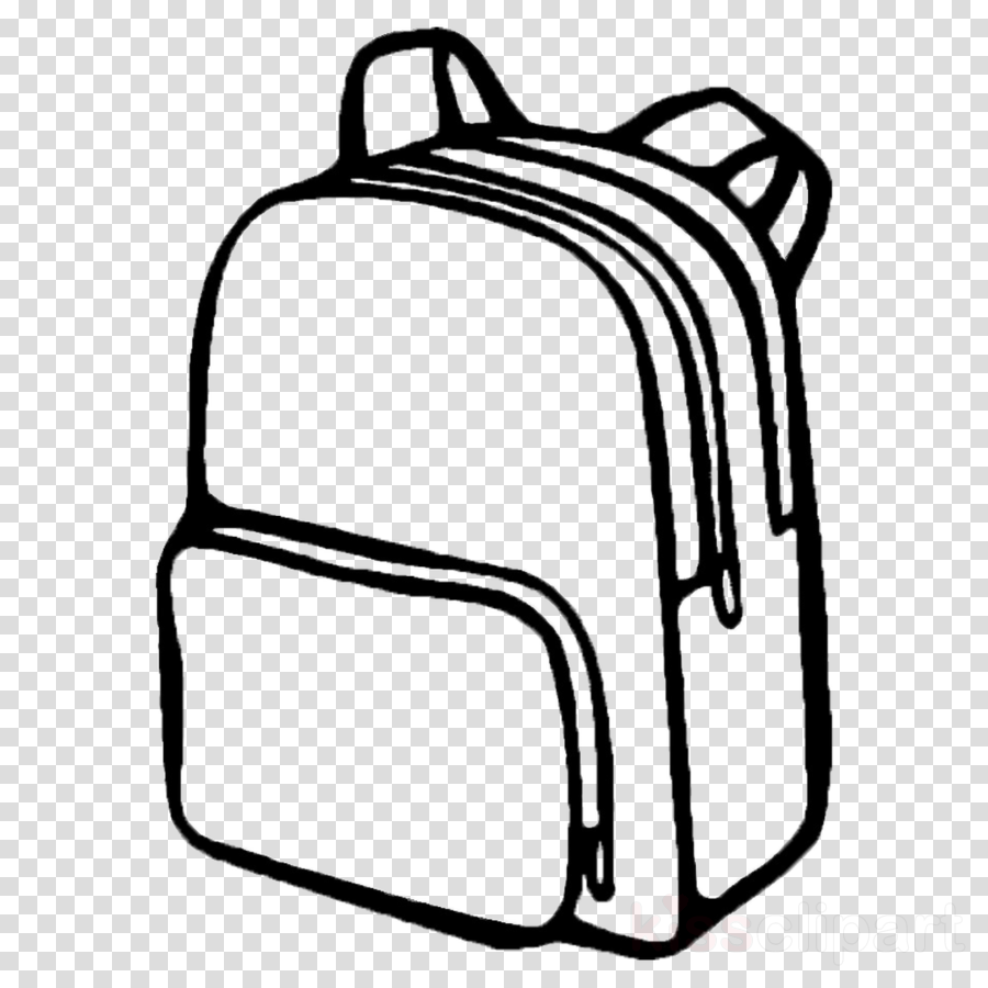 Backpack clipart line drawing. Cartoon bag