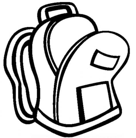 backpack clipart line drawing