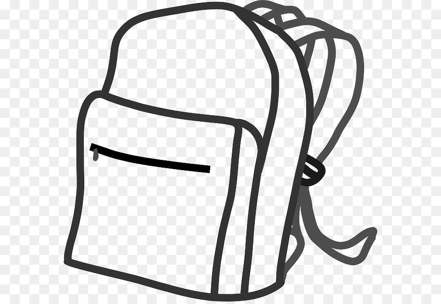 Black background bag . Backpack clipart line drawing