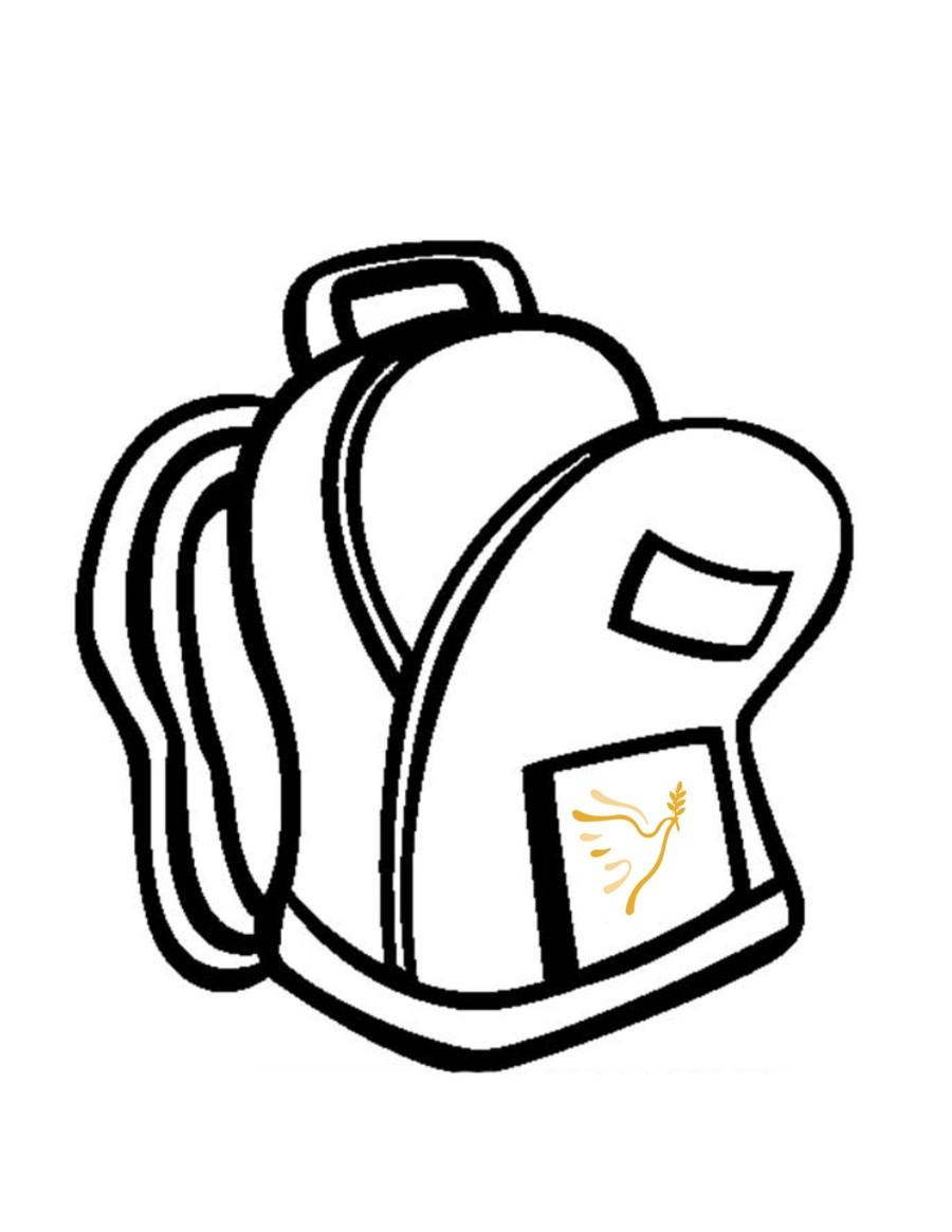 Download backpackclip art black. Backpack clipart line drawing
