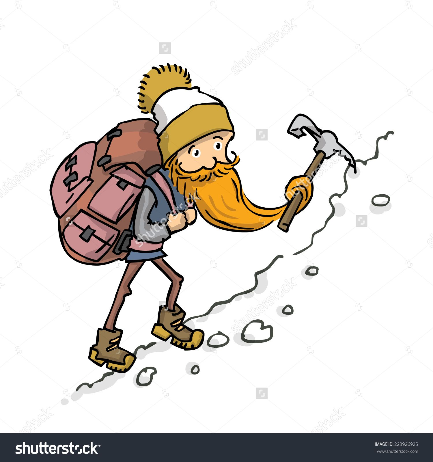 Stock vector climber with. Backpack clipart mountain