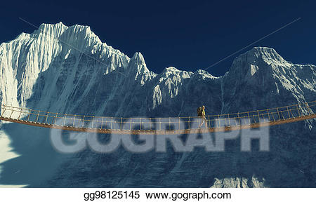 Backpack clipart mountain. Stock illustration traveler with