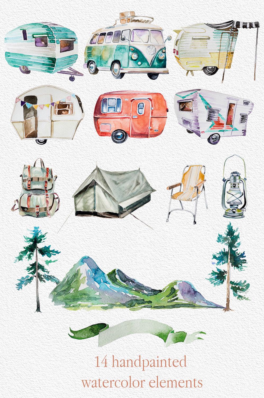 Watercolor wanderlust set retro. Backpack clipart mountain