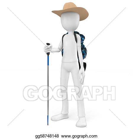 Backpack clipart mountain. Stock illustration d man
