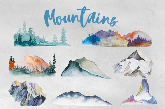 Watercolor mountains . Backpack clipart mountain