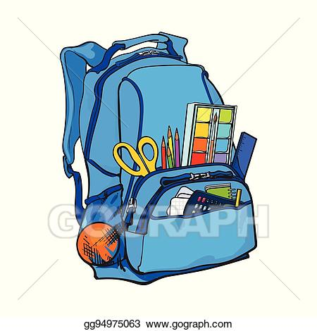 Eps illustration blue packed. Backpack clipart object