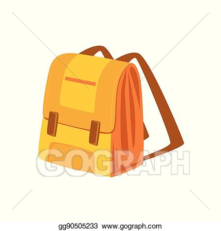 Backpack clipart object. Eps vector yellow and