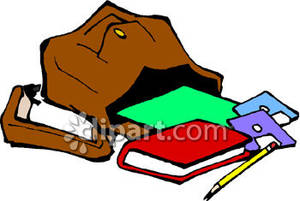 A school bag spilling. Backpack clipart open