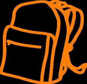 Outline clip art at. Backpack clipart orange backpack
