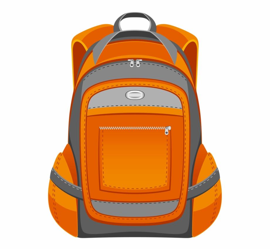 Backpack color school bag. Luggage clipart orange