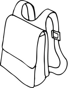 Coloring page of a. Backpack clipart outline