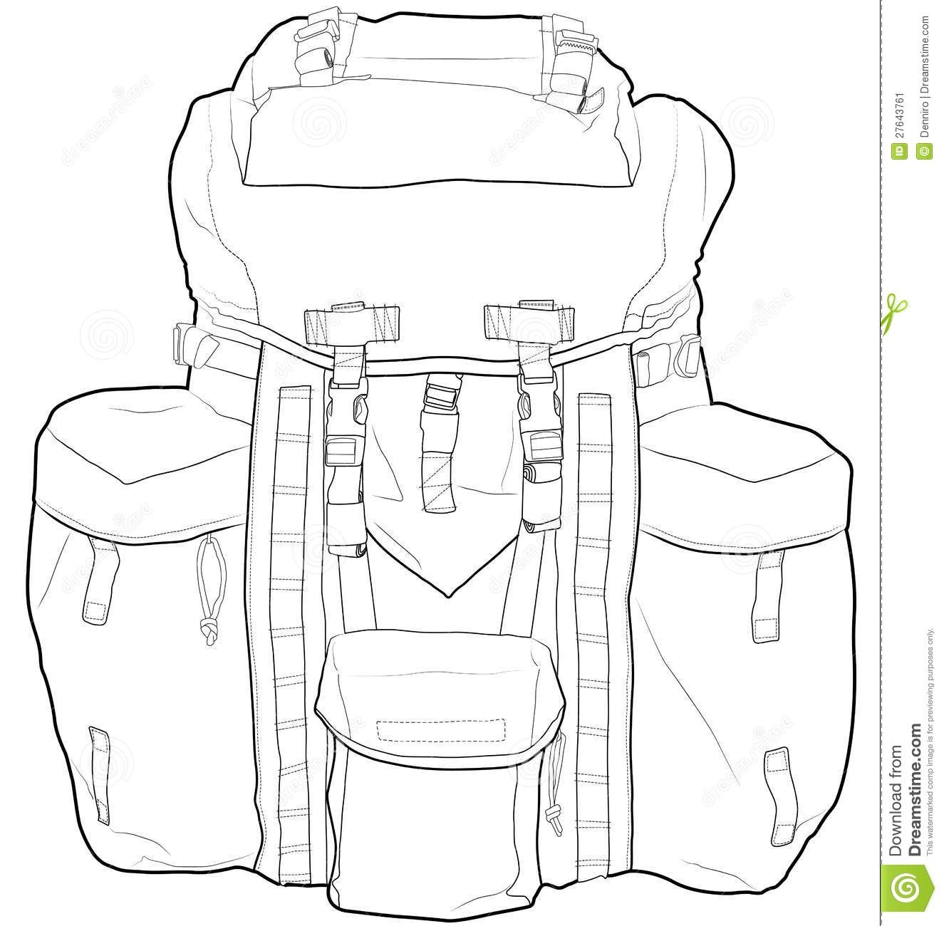 Backpack clipart outline. Hiking black and white